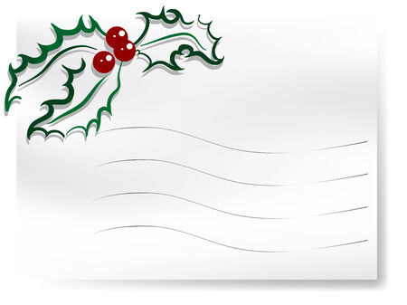 Blank white paper with green holly berry Vector