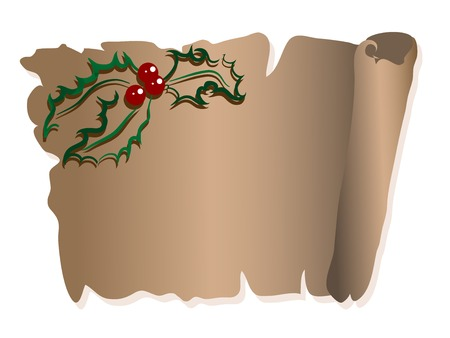 Old brown parchment with green holly berry Vector