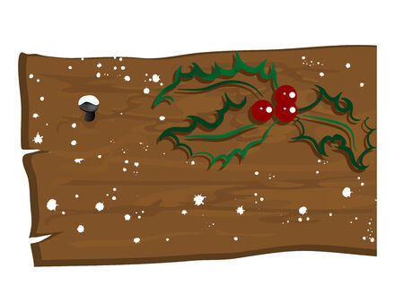 Snowy wooden billboard with green holly berry Vector