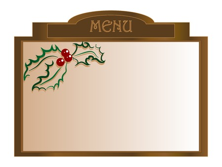 tearoom: Christmas menu board with holly berry - vector illustration