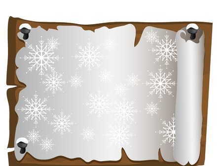 Christmas parchment with snowflakes on the wood Vector