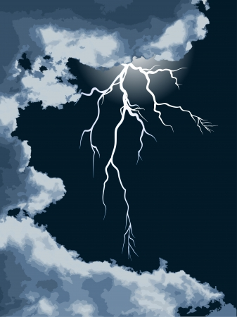 Clouds and lightning on the dark sky Stock Vector - 24191050