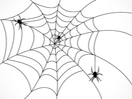 Silhouette of spider web with three spiders Vector