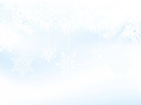 snowscene: Blue christmas background with white snowflakes and needles