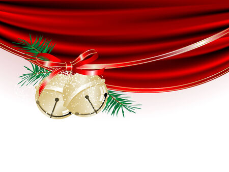 Two golden jingle bells and red curtain Vector