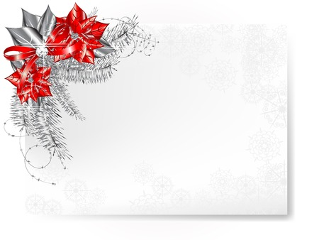 Luxury Christmas with poinsettia and silver needles Vector
