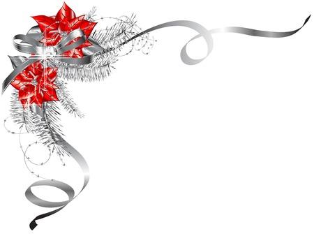 Luxe Kerstmis met poinsettia en zilveren naalden Stock Illustratie