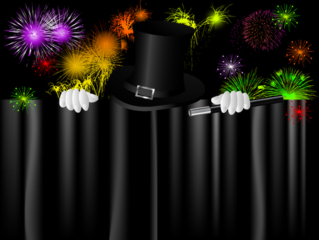 Black magic cylinder and magic hand against firework   Vector