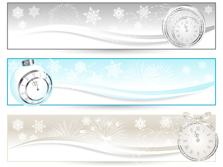 Three luxury banners with New year clock Vector