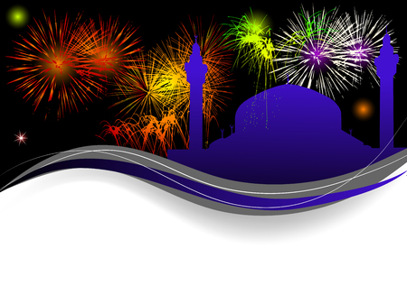 mohammed: Abstract background with mosque and fireworks