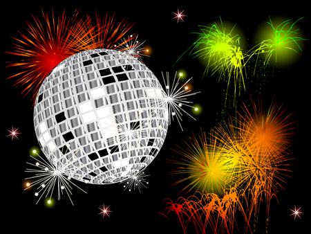 Fuegos artificiales de colores y bolas de discoteca sobre fondo negro