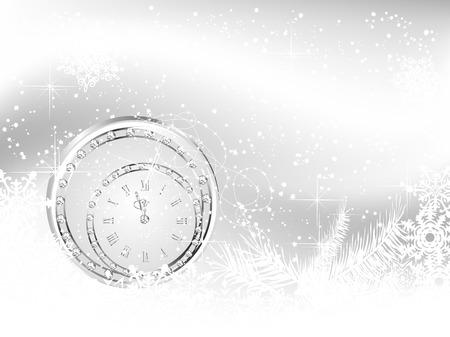 Luxe achtergrond met nieuwe jaar klok en sneeuwvlokken