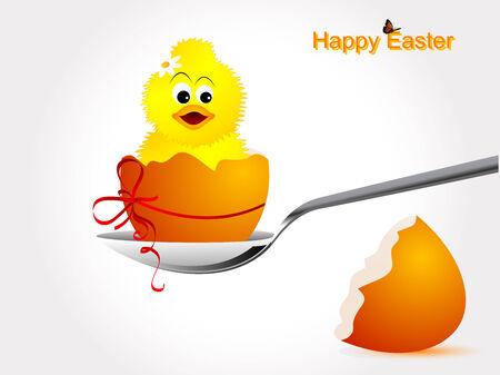 яичная скорлупа: Разбитое яичной скорлупы с птенцом и оранжевой лентой Иллюстрация