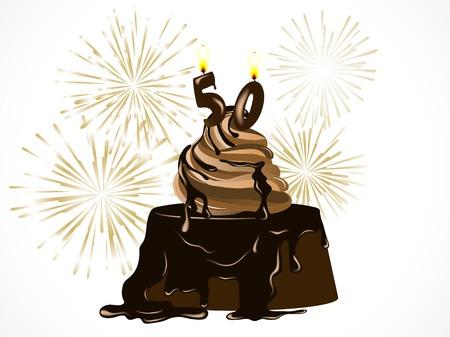 number 50: Torta de cumplea�os de chocolate con el n�mero 50 y de fuegos artificiales de oro Vectores