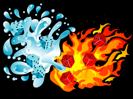 Red and blue dices in water splash and fire Vector