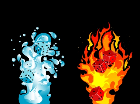 Red and blue dices in water splash and fire