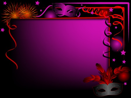 violet red: Party background with violet and red carnival masks