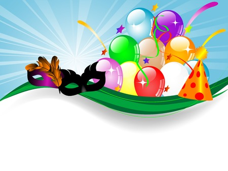 glittery: Carnival background with balloons, ribbons and face masks