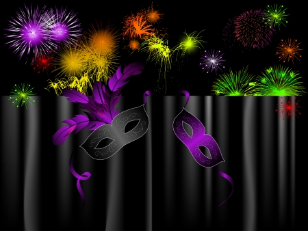 red glittery: Party background with carnival masks and fireworks
