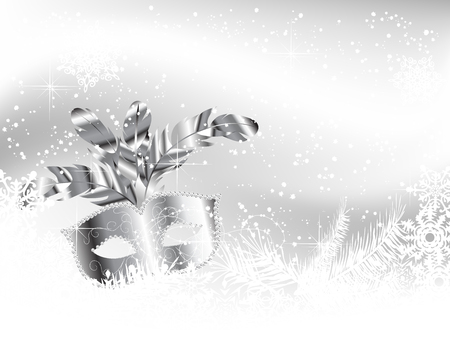 White background with silver mask, snowflakes and needles Vector