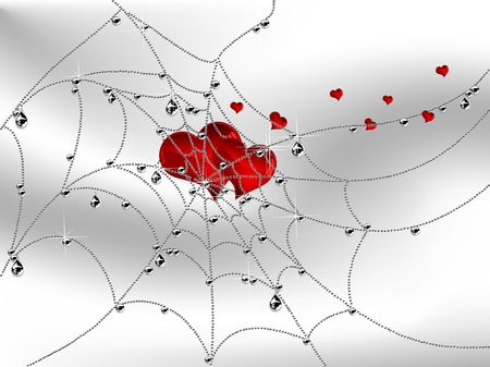Cobweb with luxury silver drops and two big glass hearts Vector