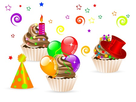 Sweet party cupcakes with balloons, ribbons, candle...