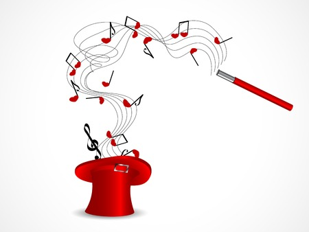 Red magic cylinder with notes and hearts Vector