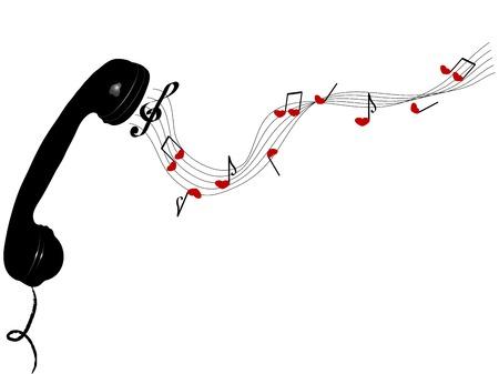 fantasize: Receptor de tel�fono con notas de coraz�n - ilustraci�n vectorial