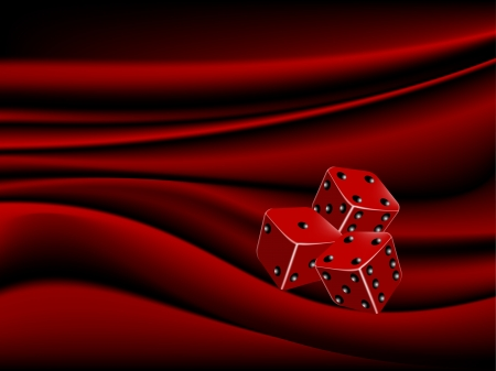 sateen: Two red dices on elegant sateen background