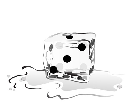 ice cube: Ice cube as a dice  Illustration