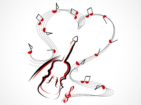 Abstract red violin with notes and hearts Vector