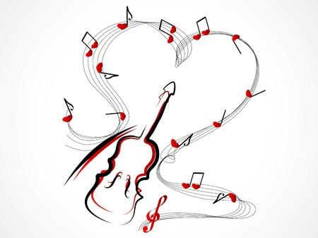 chiave di violino: Estratto violino rosso con note e cuori