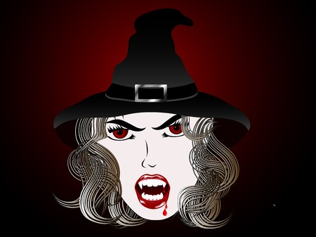 vampira sexy: Cara de bruja sexy vampiro con el pelo largo
