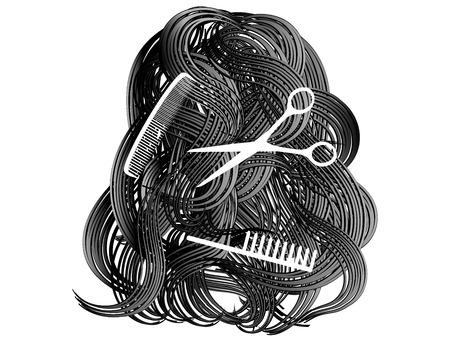 cabello largo y hermoso: Hermoso pelo largo con las tijeras y el peine