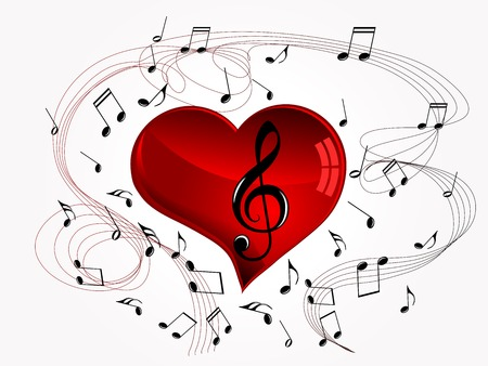 Abstract music background with red heart and notes Çizim