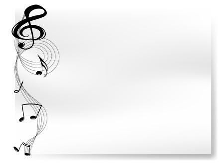 noir et blanc: Feuille de papier blanc avec la fronti�re des notes de musique