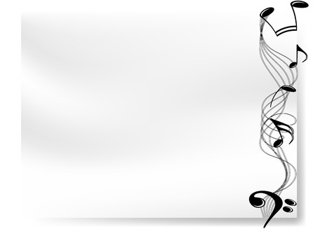 Blank white paper with border of musical notes