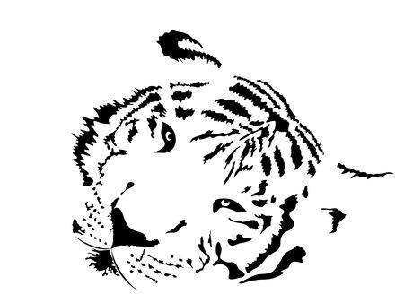silueta tigre: Vector silueta de la cabeza de tigre blanco Vectores