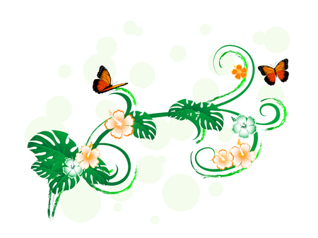 Green tropical border with butterflies and exotic flowers Vector