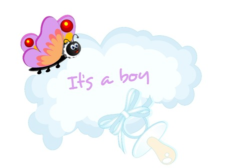 Baby boy arrival card with cloud and butterfly Vector