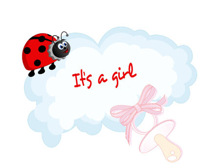 Baby girl arrival card with cloud and ladybug Vector