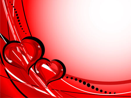Valentine frame with two glass hearts Vector