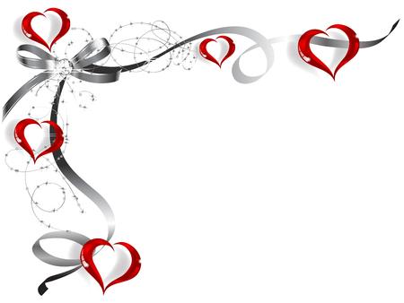 Valentine frame met lint en glazen hart