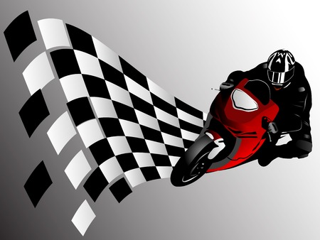 Vector illustration of motorcycle racer and finish flag