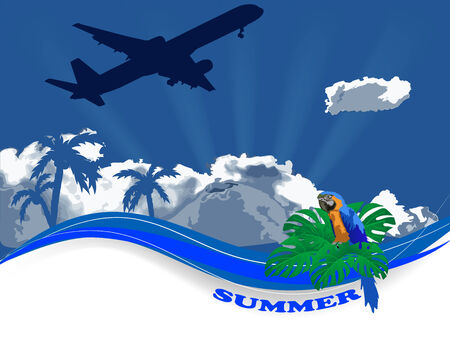 Summer travel background with airplane and parrot Vector