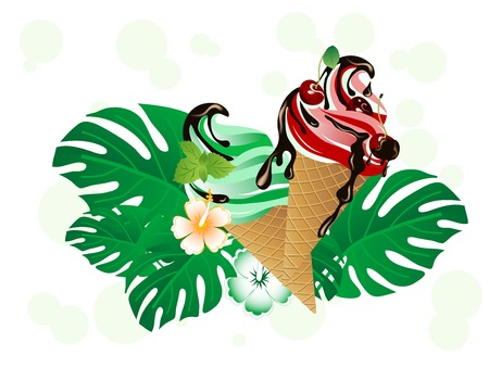 chocolate mint: Cherry and mint ice cream in cones with chocolate