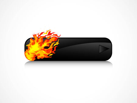 rectangle button: Black rectangle button with orange flames Illustration