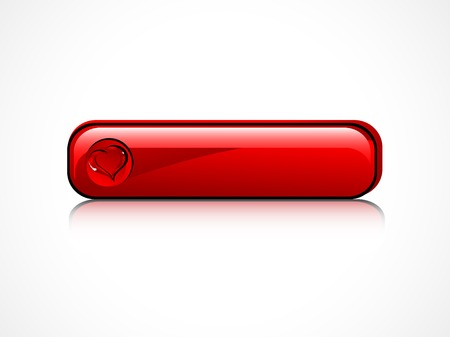 rectangle button: Glass rectangle button with red heart Illustration