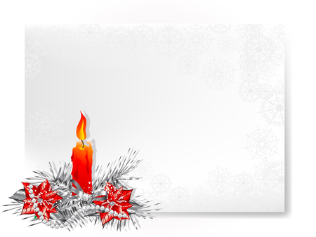 candlestand: Christmas background with candlestick and white snowflakes Illustration
