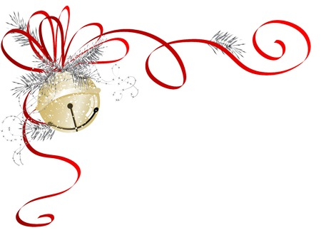 Golden jingle bell with red ribbon Ilustração